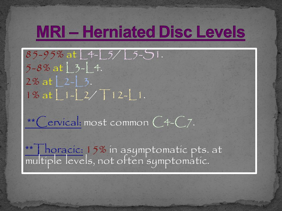 MRI – Herniated Disc Levels