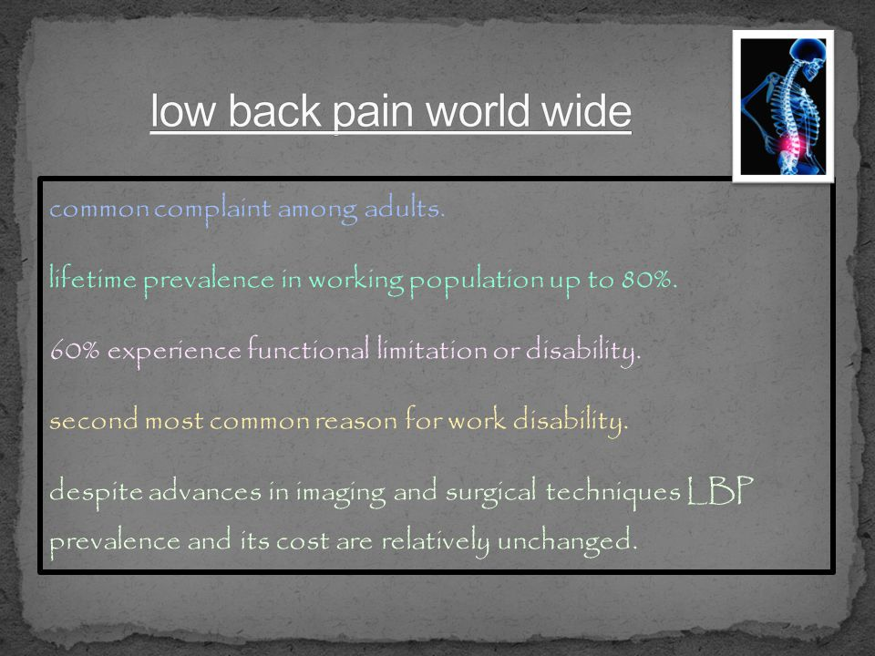 low back pain world wide
