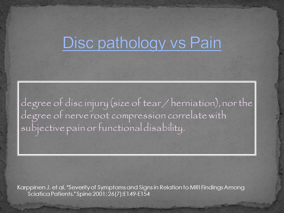 Disc pathology vs Pain