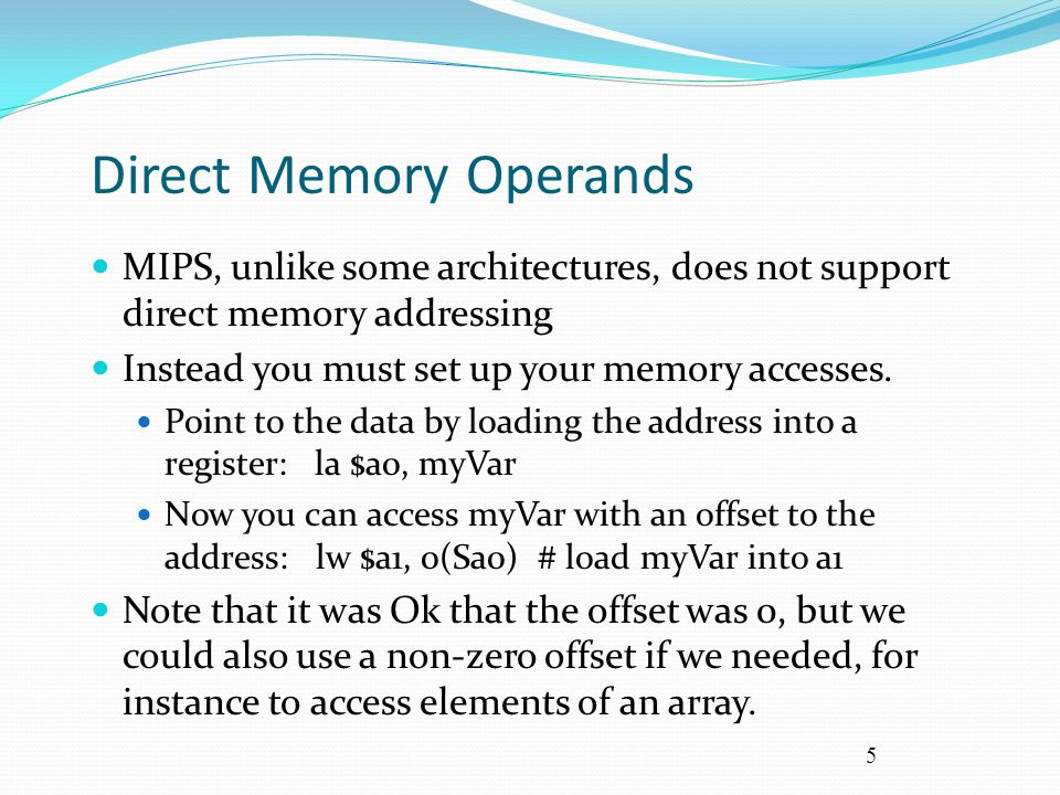 Direct Memory Operands