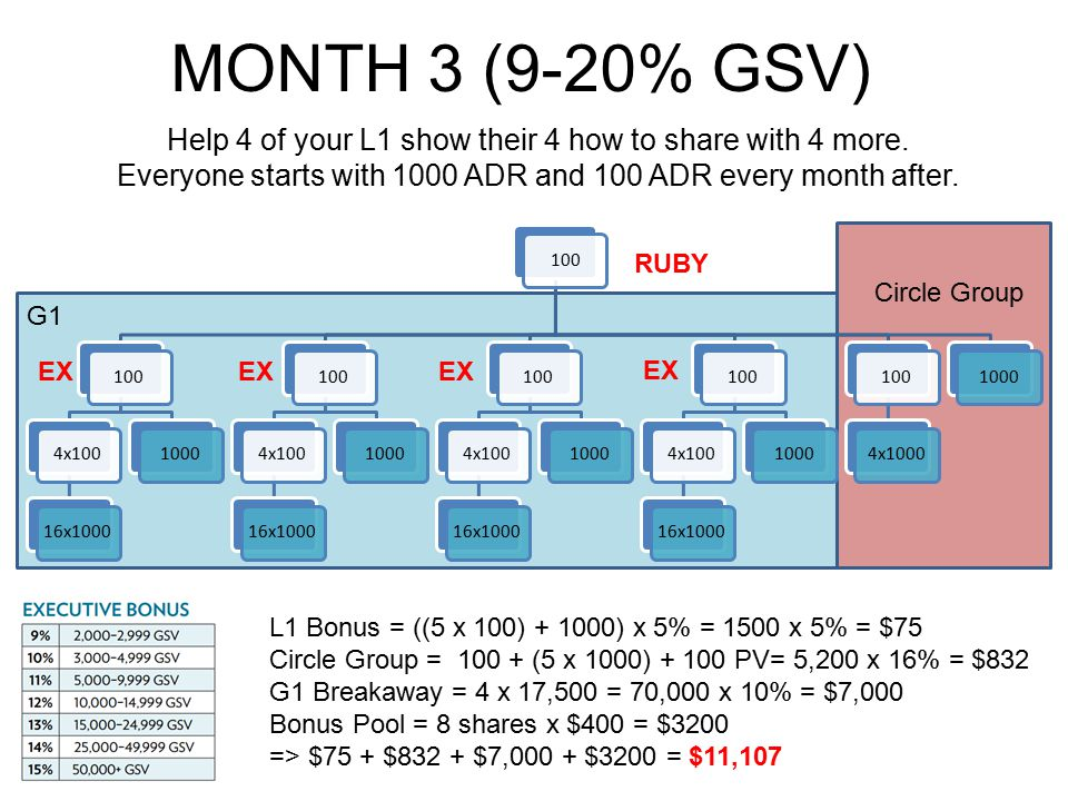 MONTH 3 (9-20% GSV) Help 4 of your L1 show their 4 how to share with 4 more. Everyone starts with 1000 ADR and 100 ADR every month after.