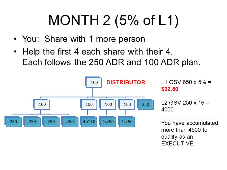 MONTH 2 (5% of L1) You: Share with 1 more person