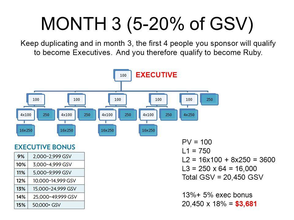 MONTH 3 (5-20% of GSV)