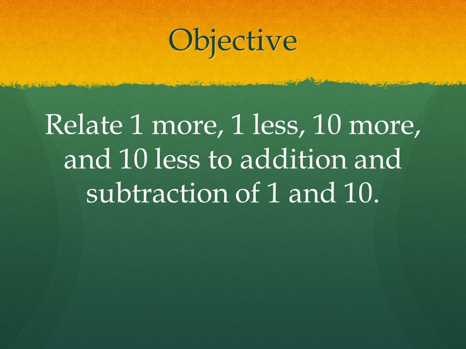 Objective Relate 1 more, 1 less, 10 more, and 10 less to addition and subtraction of 1 and 10.