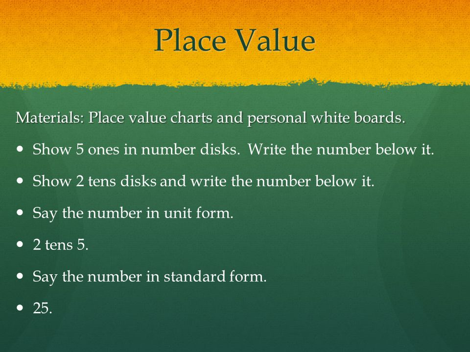 Place Value Materials: Place value charts and personal white boards.