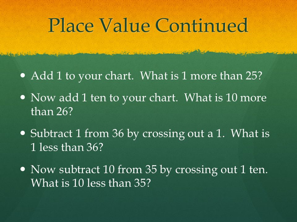 Place Value Continued Add 1 to your chart. What is 1 more than 25