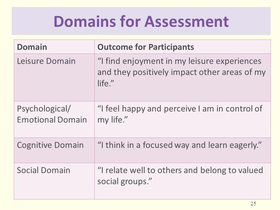 Domains for Assessment
