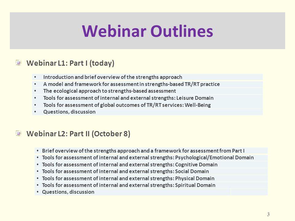 Webinar Outlines Webinar L1: Part I (today)