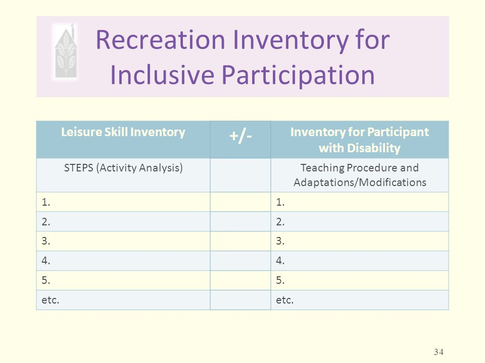Recreation Inventory for Inclusive Participation