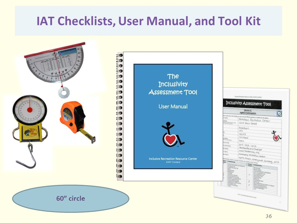 IAT Checklists, User Manual, and Tool Kit