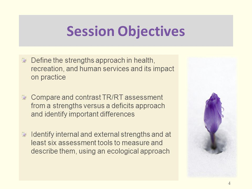 Session Objectives Define the strengths approach in health, recreation, and human services and its impact on practice.