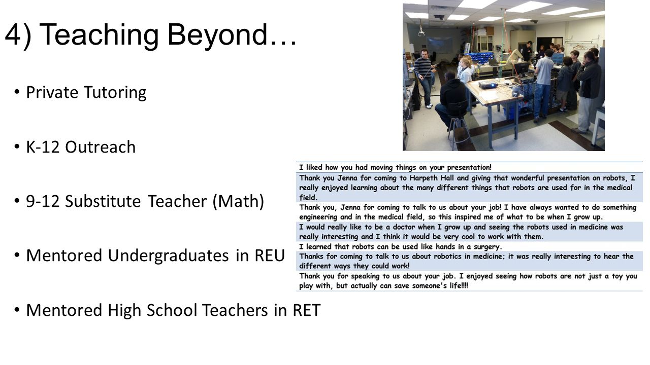 4) Teaching Beyond… Private Tutoring K-12 Outreach
