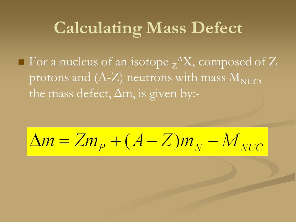 Calculating Mass Defect