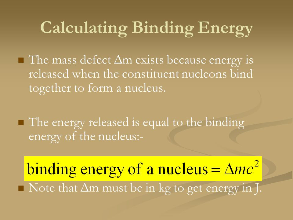 Calculating Binding Energy