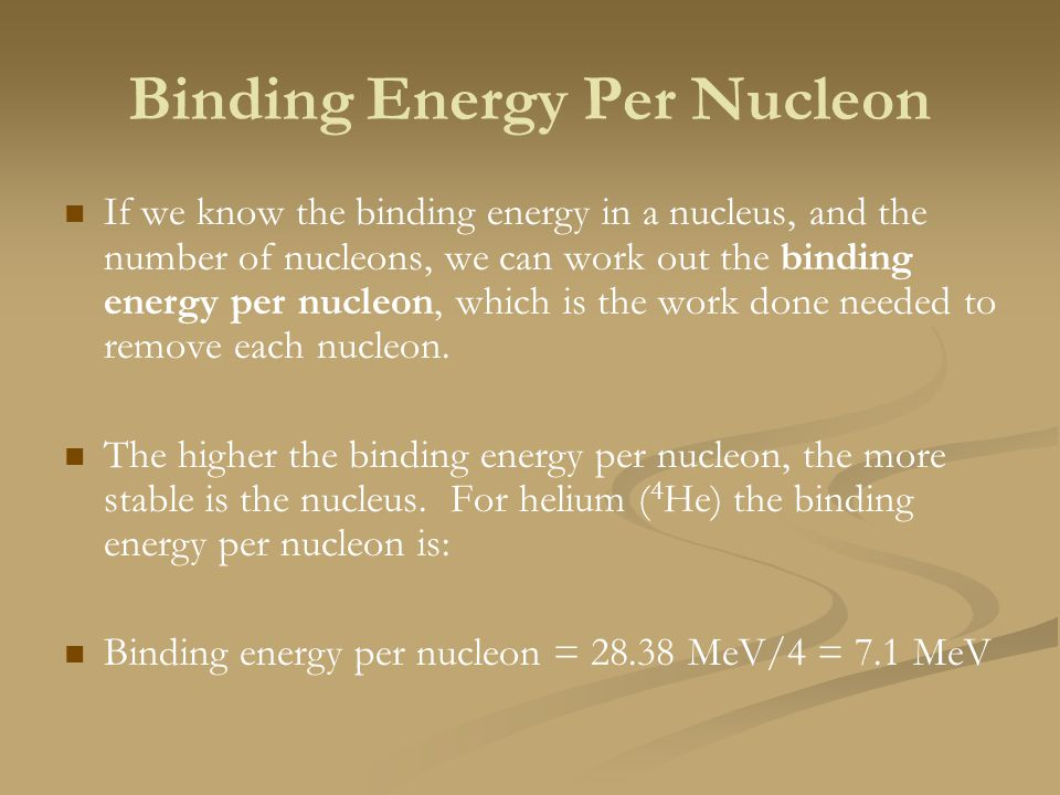 Binding Energy Per Nucleon