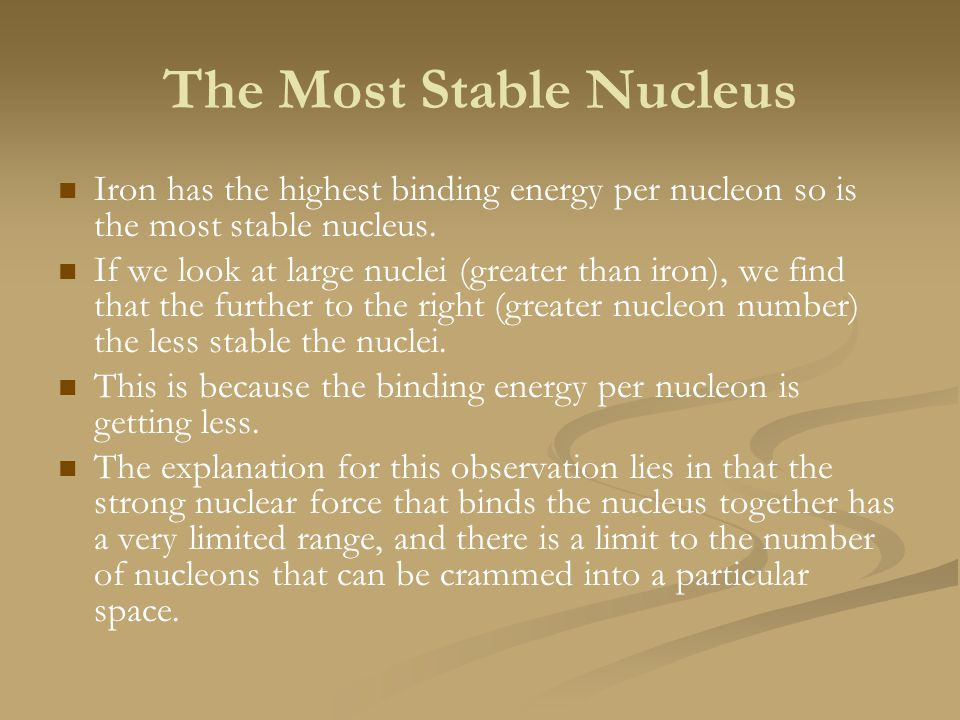 The Most Stable Nucleus