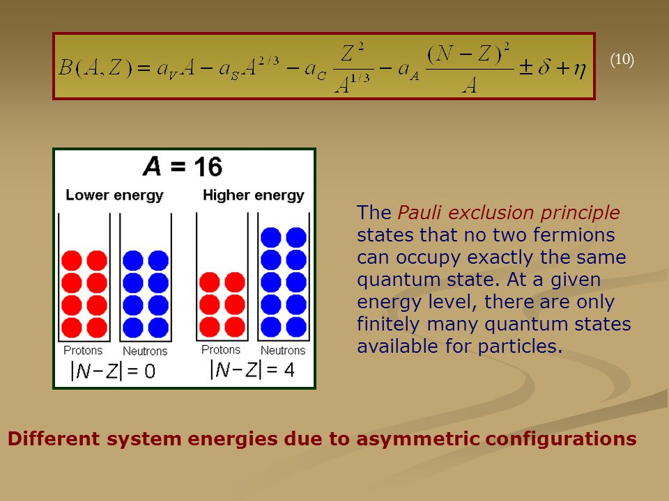 Different system energies due to asymmetric configurations