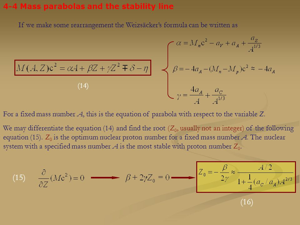 (15) (16) 4-4 Mass parabolas and the stability line