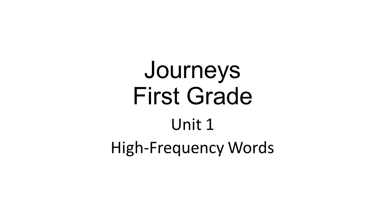 Unit 1 High-Frequency Words