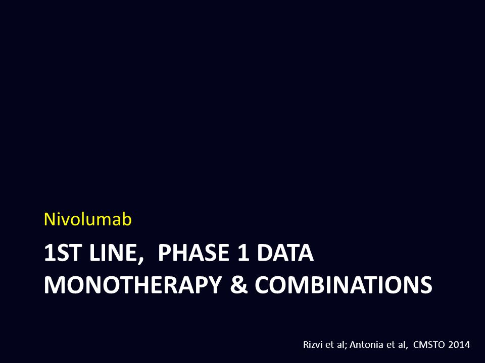 1st line, phase 1 DATA monotherapy & combinations