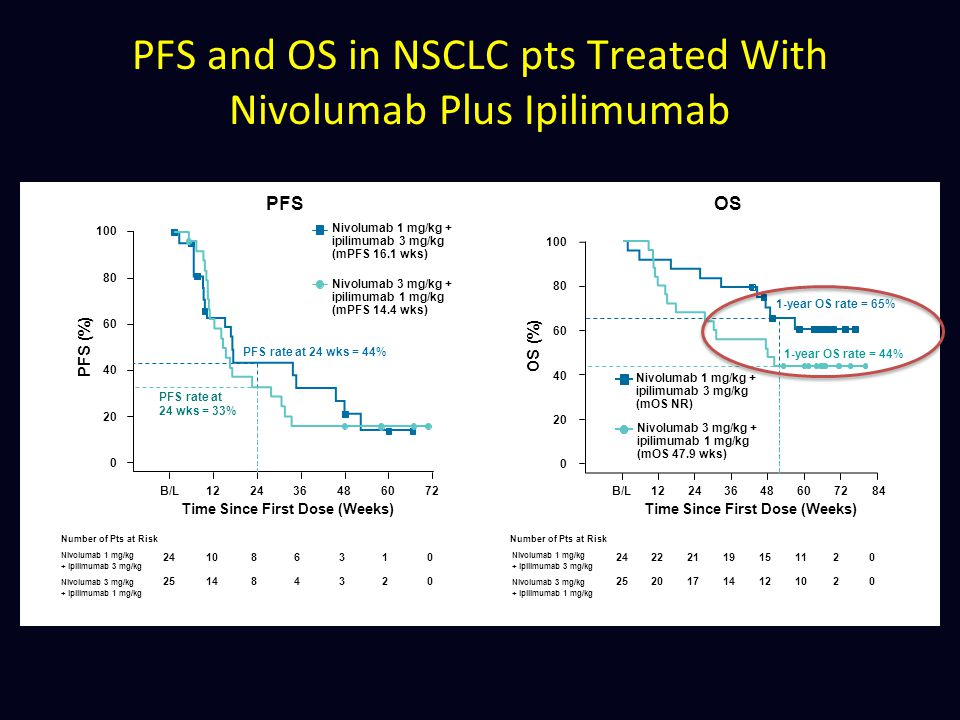 PFS and OS in NSCLC pts Treated With Nivolumab Plus Ipilimumab