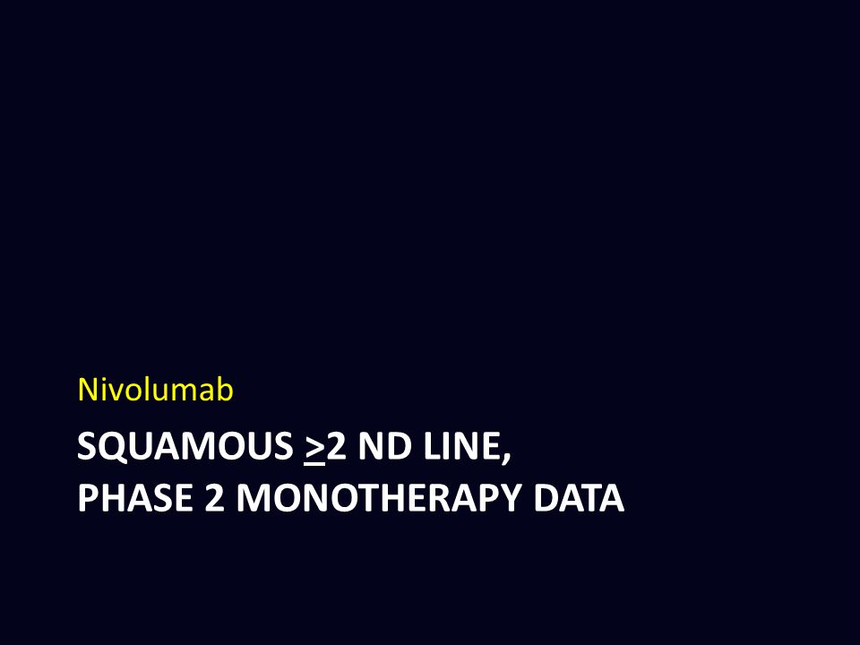 Squamous >2 ND line, phase 2 monotherapy DATA