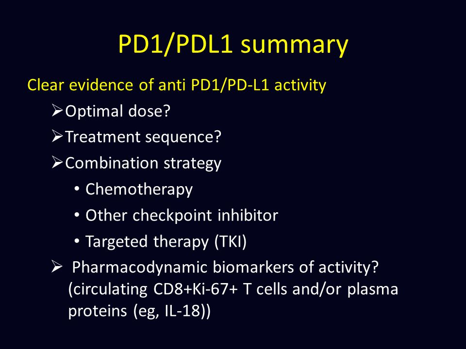 PD1/PDL1 summary Clear evidence of anti PD1/PD-L1 activity