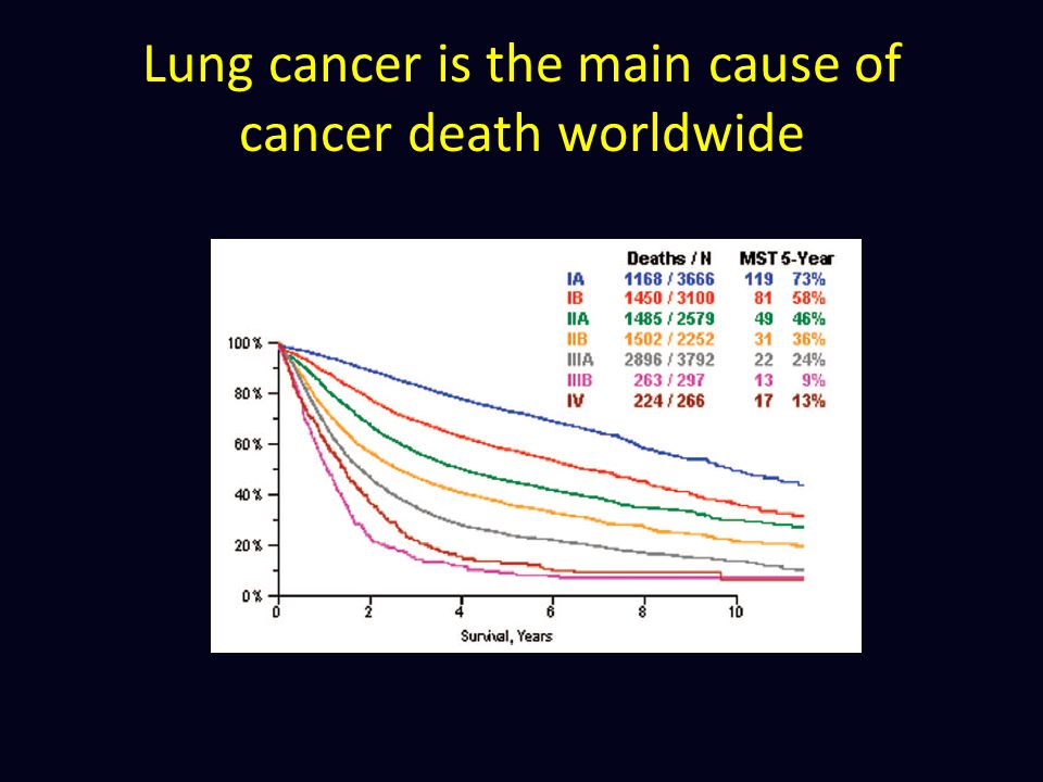 Lung cancer is the main cause of cancer death worldwide