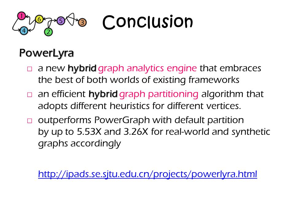 Conclusion PowerLyra. a new hybrid graph analytics engine that embraces the best of both worlds of existing frameworks.