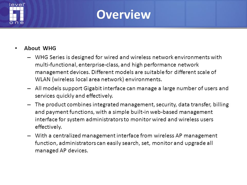 Overview About WHG.