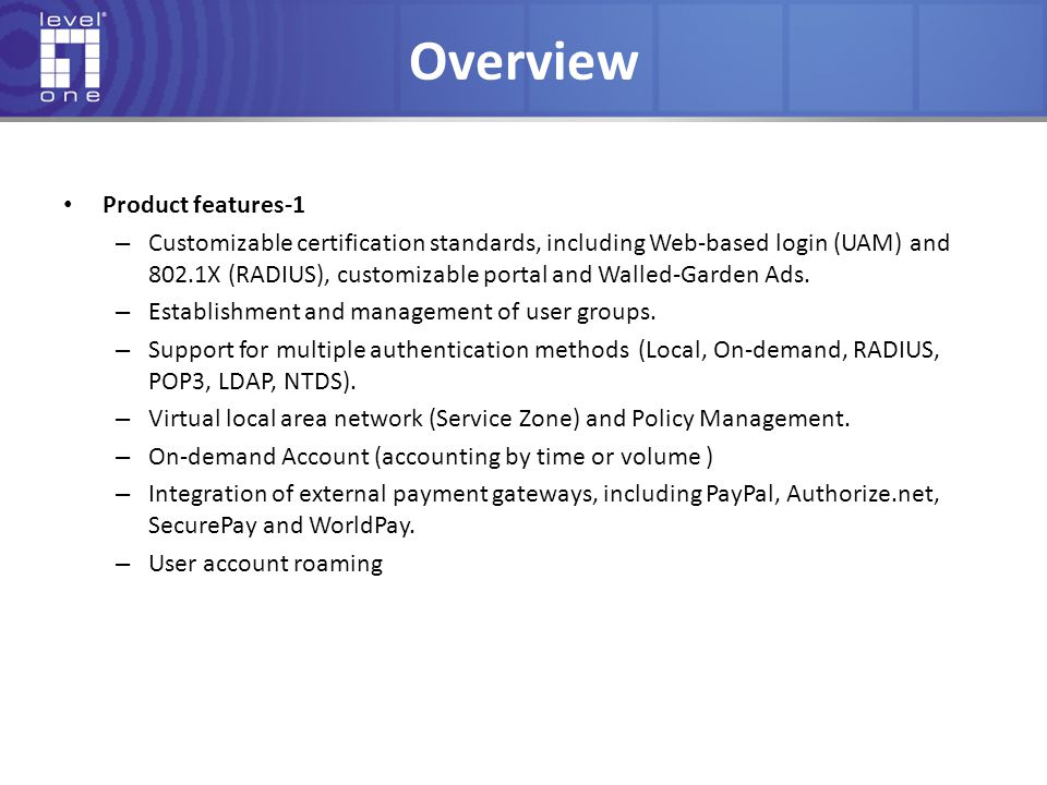 Overview Product features-1