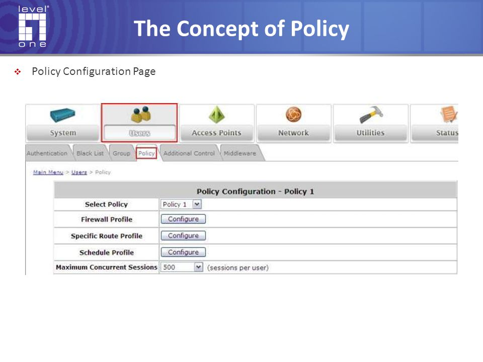 The Concept of Policy Policy Configuration Page