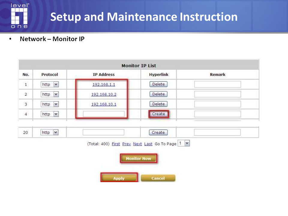 Setup and Maintenance Instruction