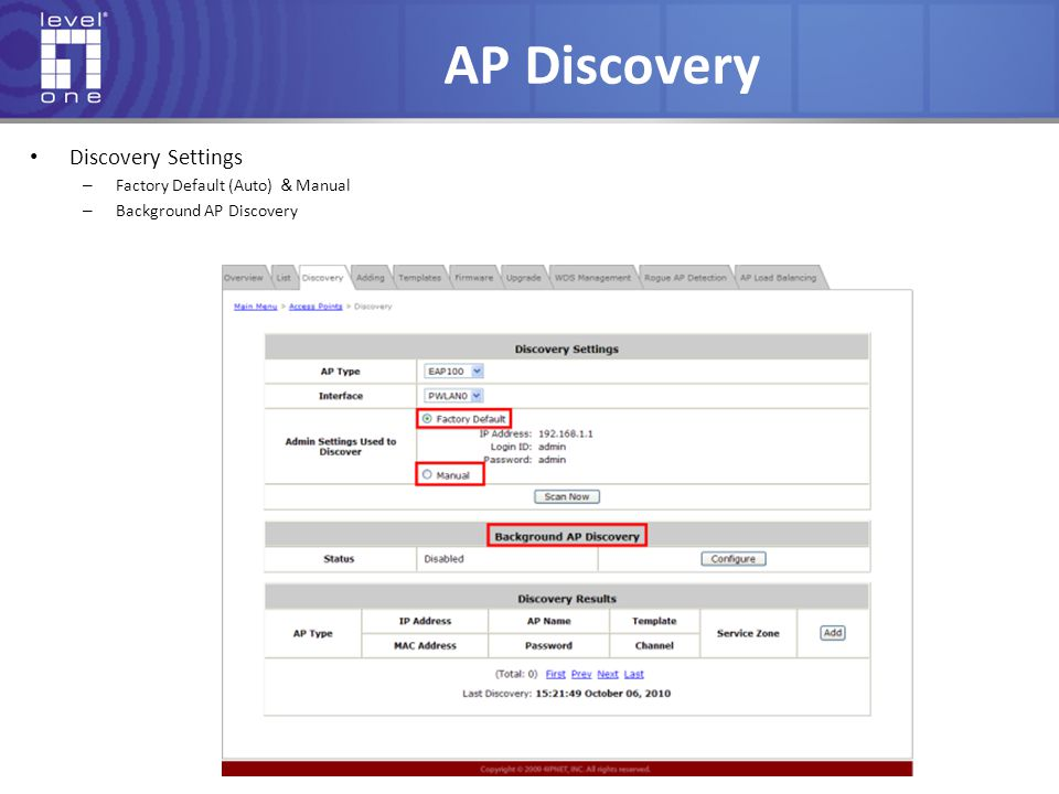 AP Discovery Discovery Settings Factory Default (Auto) &Manual