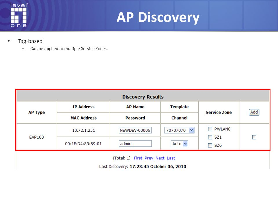 AP Discovery Tag-based Can be applied to multiple Service Zones.