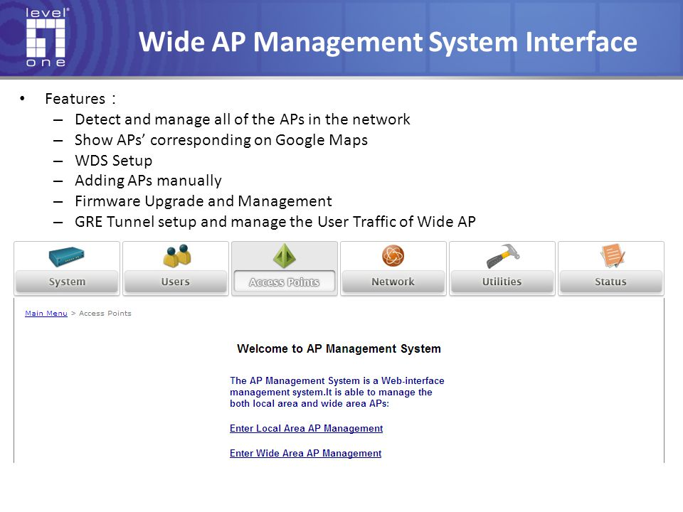 Wide AP Management System Interface