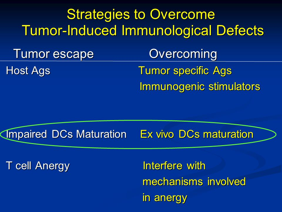 Strategies to Overcome Tumor-Induced Immunological Defects