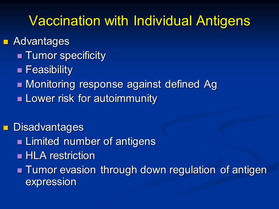 Vaccination with Individual Antigens