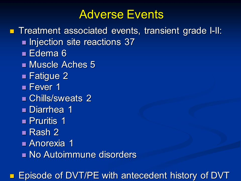 Adverse Events Treatment associated events, transient grade I-II: