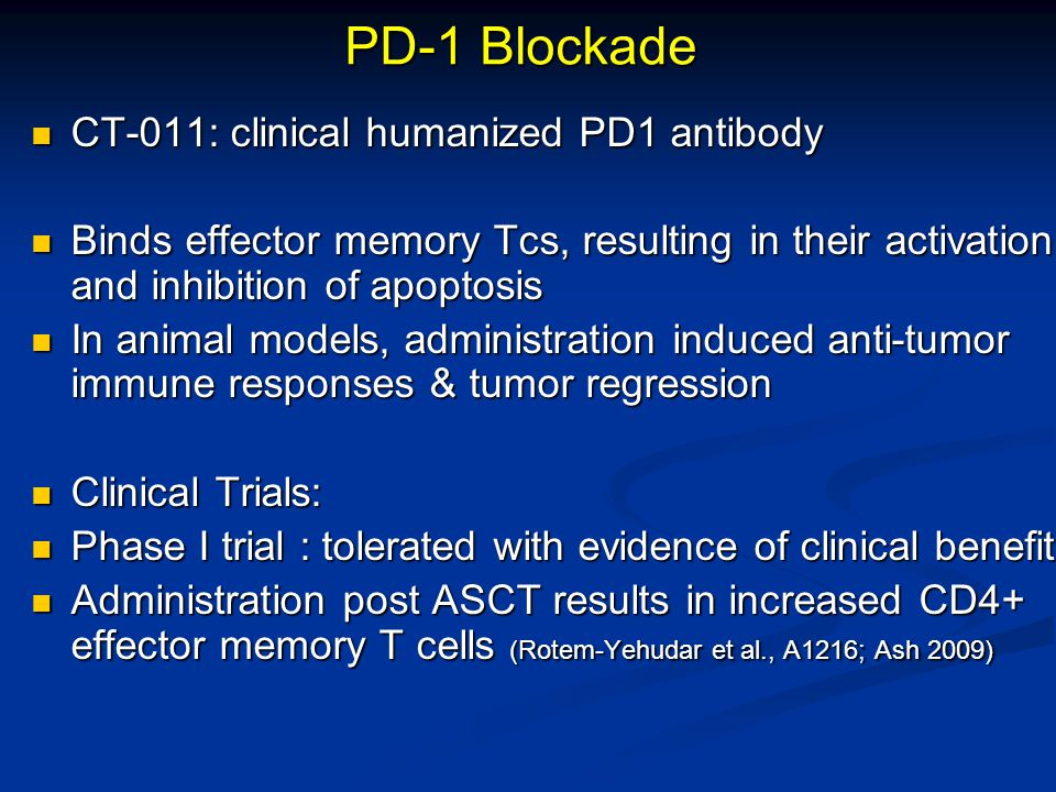 PD-1 Blockade CT-011: clinical humanized PD1 antibody