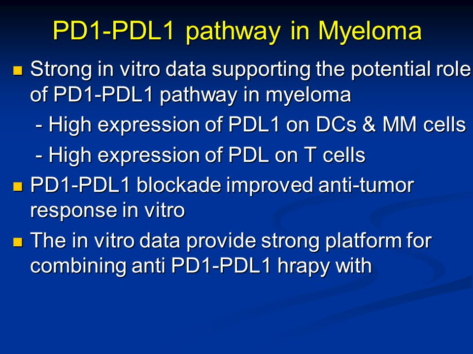 PD1-PDL1 pathway in Myeloma