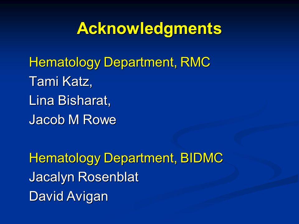Acknowledgments Hematology Department, RMC Tami Katz, Lina Bisharat, Jacob M Rowe Hematology Department, BIDMC Jacalyn Rosenblat David Avigan