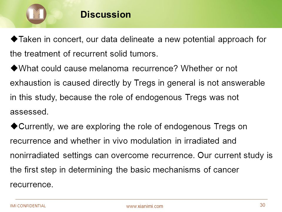 Discussion Taken in concert, our data delineate a new potential approach for the treatment of recurrent solid tumors.