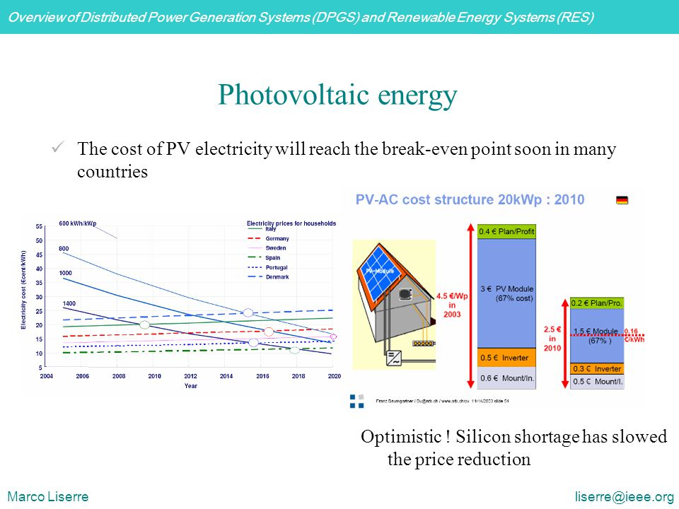 Photovoltaic energy The cost of PV electricity will reach the break-even point soon in many countries.