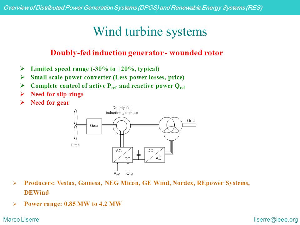 Wind turbine systems Doubly-fed induction generator - wounded rotor