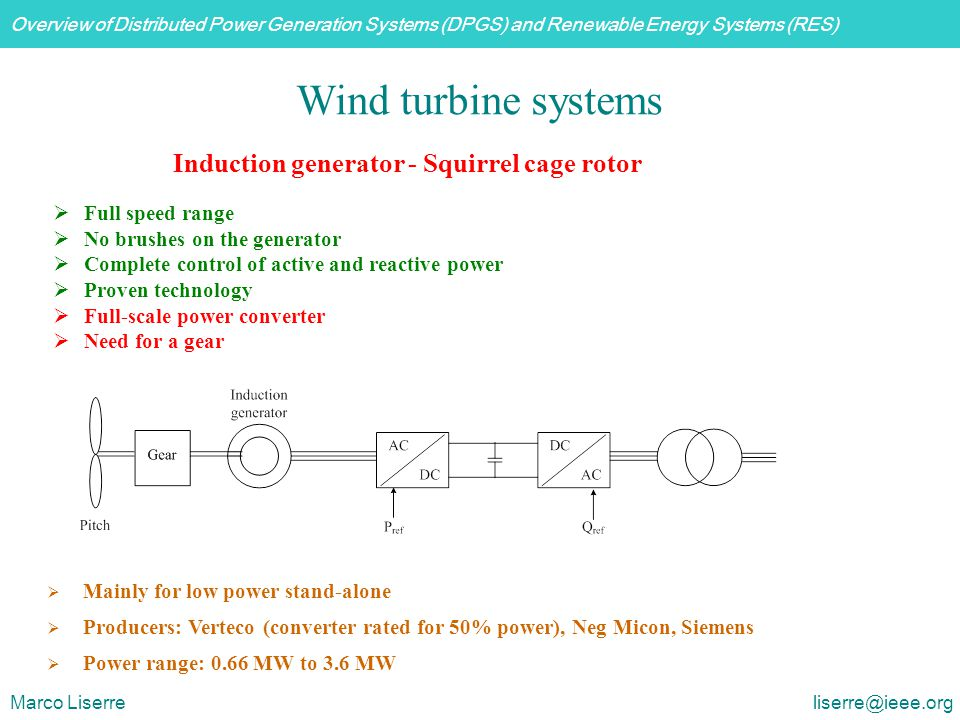 Wind turbine systems Induction generator - Squirrel cage rotor