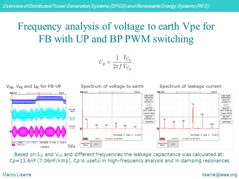Frequency analysis of voltage to earth Vpe for FB with UP and BP PWM switching