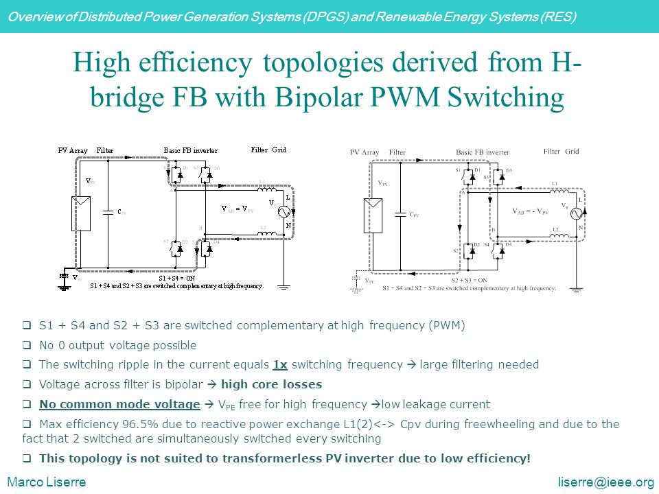 High efficiency topologies derived from H-bridge FB with Bipolar PWM Switching