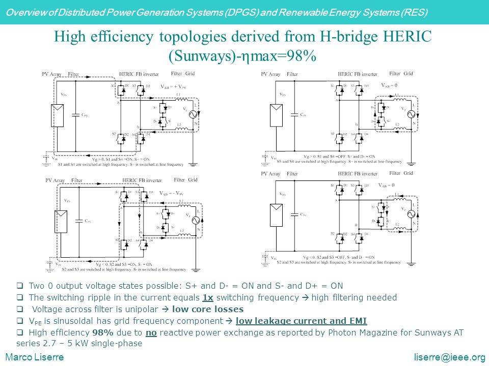 High efficiency topologies derived from H-bridge HERIC (Sunways)-ηmax=98%