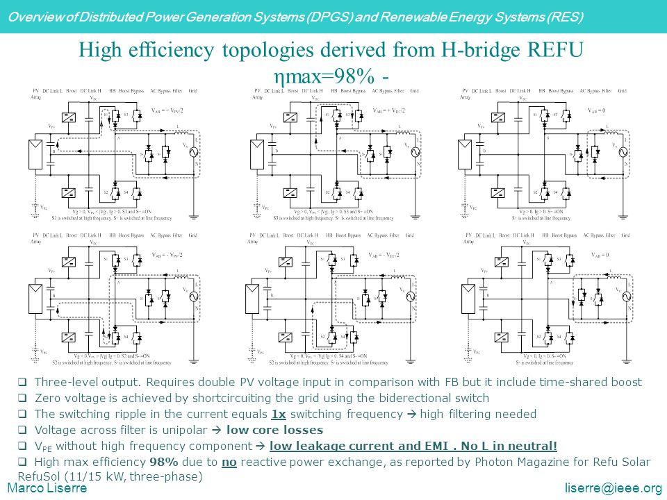 High efficiency topologies derived from H-bridge REFU ηmax=98% -